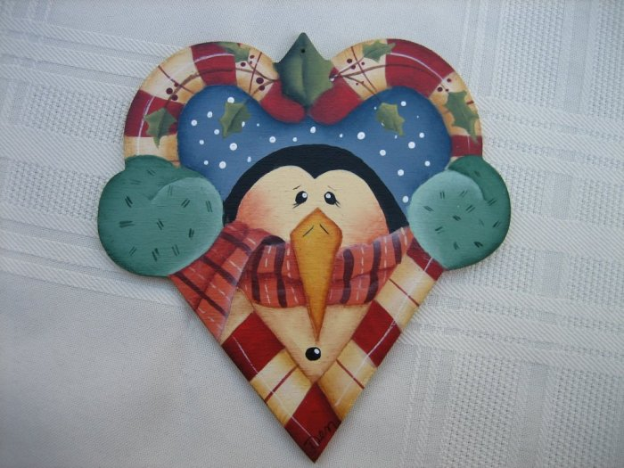 Hand Painted Candy Cane Heart Penguin Ornament