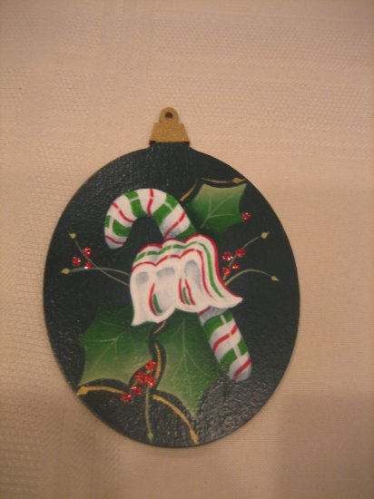 Hand Painted Green Ornament Candy Cane Holly Leaf New