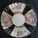 Lefton Collectible Saucer White & Black With Pink Roses