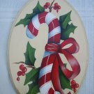 Hand Painted Oval Candy Cane and Holly Ornament New