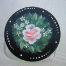 Handpainted Candy/Potpourri Jar Floral Black Lid Rose New