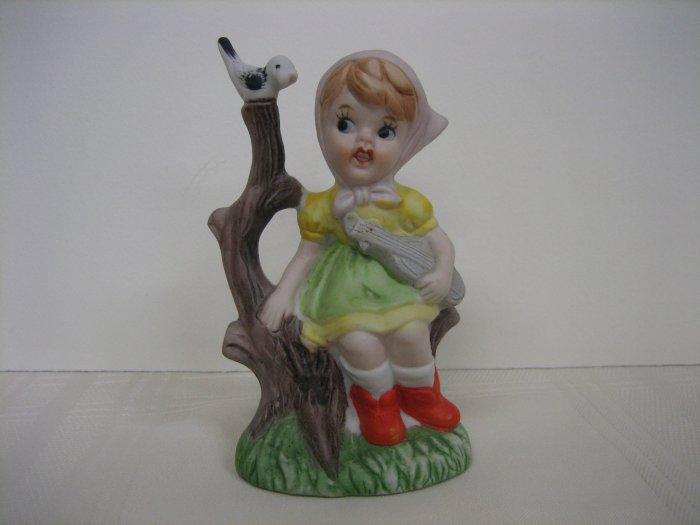Collectible Figurine Girl with String Instrument, Bird