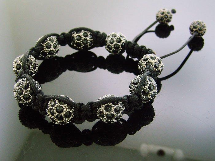 Big Bead Shamballa Black CZ Bracelet 12MM