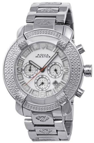 New! Aqua Master Large Round 20 Diamonds SS Watch