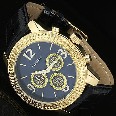 New Ice Ice By Icetime 45 MM10 Diamond Yellow Gold Tone Case
