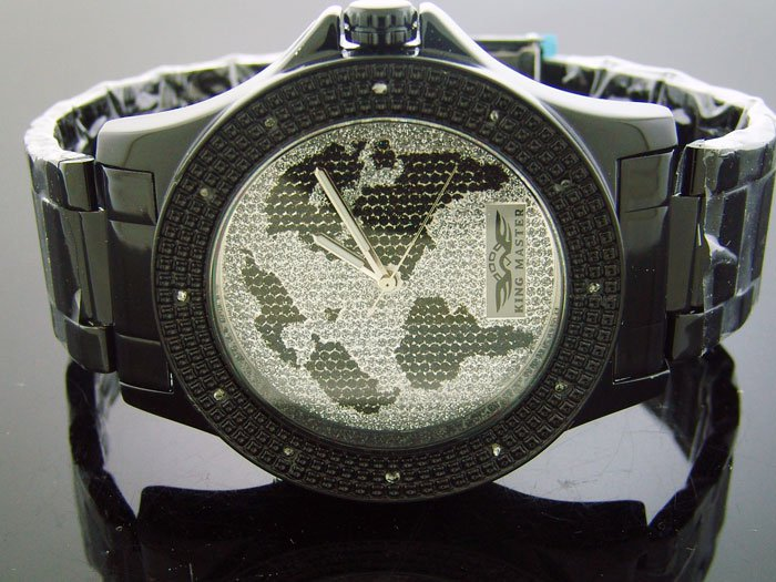 King Master 12 Diamond 48M Round Black tone Case watch