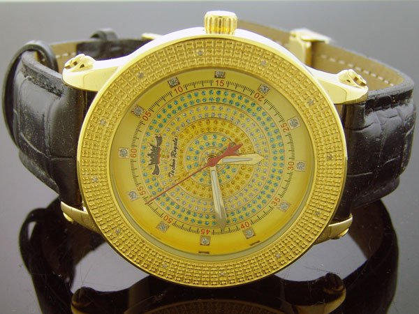 Techno Royale 50mm Round Yellow Gold Tone case 12 Diamonds Watch