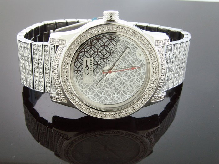Men's King Master 50MM Round 12 Diamonds SS Band watch