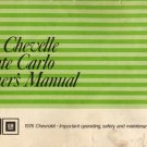 1976 Chevrolet Chevelle-Monte Carlo Owner's Manual - AM0034