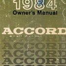1984 Honda Accord Owner's Manual - AM0006