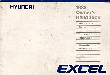 1986 Hyundai Excel Owner's Manual - AM0001