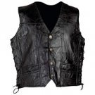 Mens Black Embroidered Leather Vest XL GFVPTBA-m