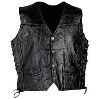Mens Black Embroidered Leather Vest  Lg GFVPTBA-m