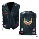 Mens Black Leather Vest with Patches 2X GFVBIKE-m