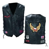 Mens Black Leather Vest with Patches Med GFVBIKE-m