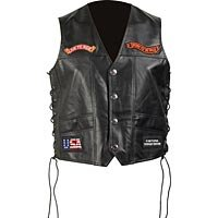 Mens Black Solid Leather Vest with Patches 3X GFVSLPT-m