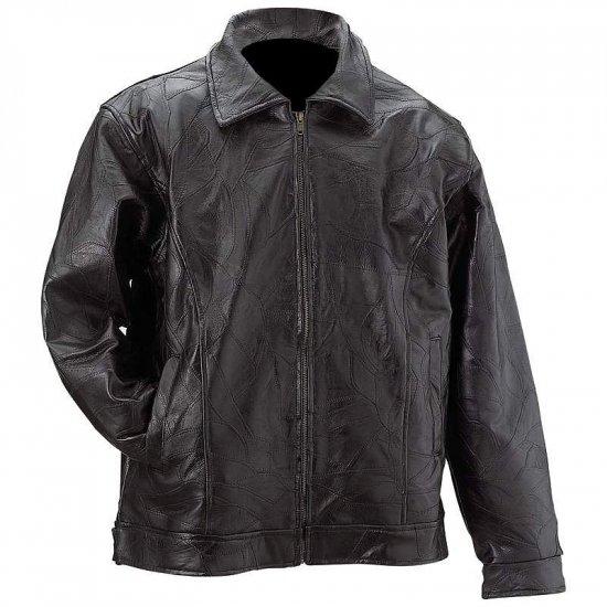 Mens Black Leather Eagle Jacket - MED GFAMEAG-l