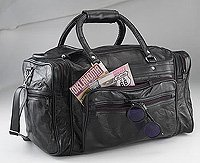 "Black Leather 17"" Overnight Tote Gym Bag LULTS2-m"