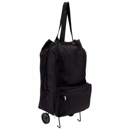 Black Folding Shopping Cart LUSHPWHL-l