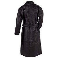 Men's Black Leather Trench Coat 2X GFTR