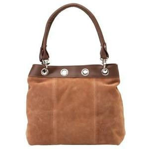 Brown Solid Genuine Suede Leather Purse LUPCLIP