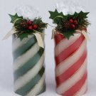 Red and Green candy cane stripes candle