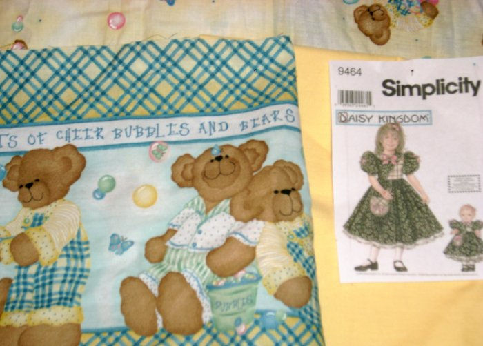 Daisy Kingdom Butterfly Bears Border Doll Dress Kit