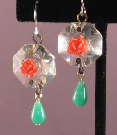 Vintage Crystal Floral Cabochon and Miriam Haskell Glass Drop Earrings