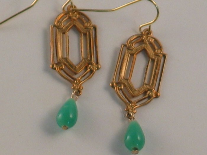 Cathedral Window And Miriam Haskell Glass Drop Earrings