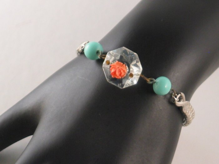 Vintage Watch Band Bracelet with Crystal and Flower