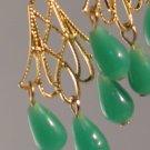 Gold Tone Fan Filigree Chandelier Earrings with Miriam Haskell Glass Drops