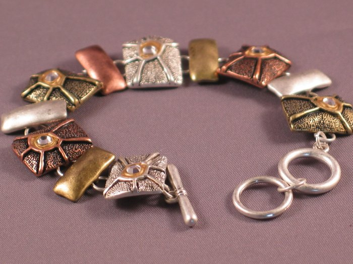 Tri-Color Modern Textured Crystal Metal Bracelet