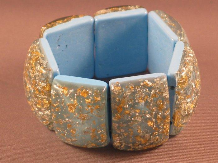 Chunky Gold Glitter Blue Stretch Bracelet