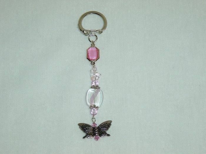 Pink Glass & Butterfly Purse Charm
