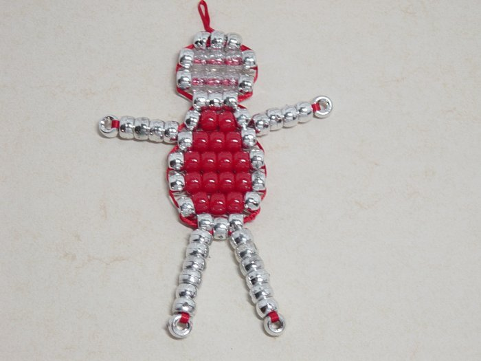 Bead Baby Ornament - Red