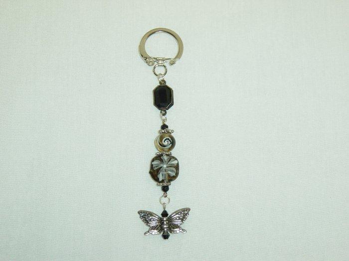 Black Glass & Butterfly Purse Charm