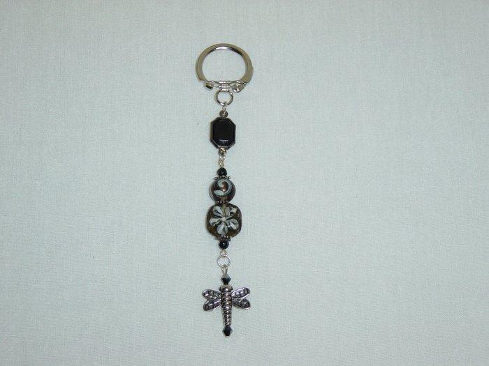 Black Glass & Dragonfly Purse Charm