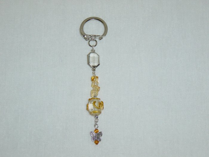 Yellow Glass & Butterfly Purse Charm