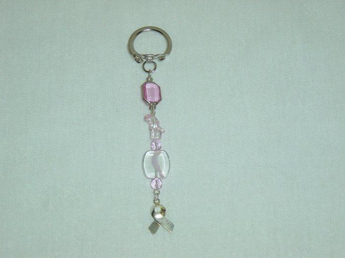 Pink Glass & Ribbon Purse Charm