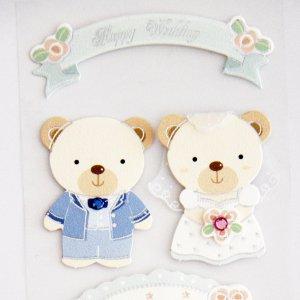 3d sticker teddy bear wedding couple super cute