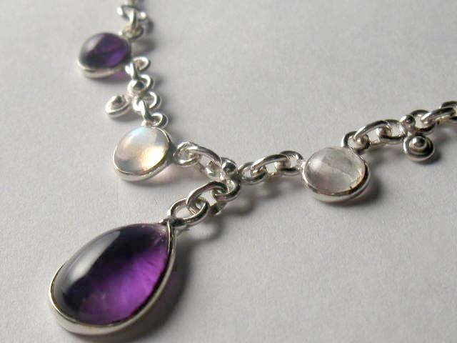 Natural Amethyst and Moonstone Sterling Silver Necklace