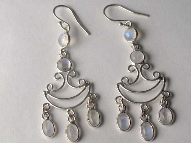 Sterling Silver Rainbow Moonstone Chandelier Earrings