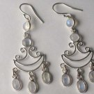 Sterling Silver Rainbow Moonstone Chandelier Earrings