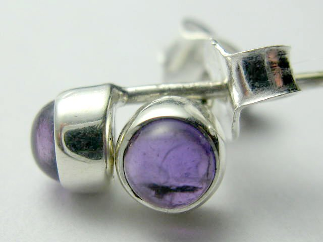 Sterling Silver Genuine Natural Amethyst Studs