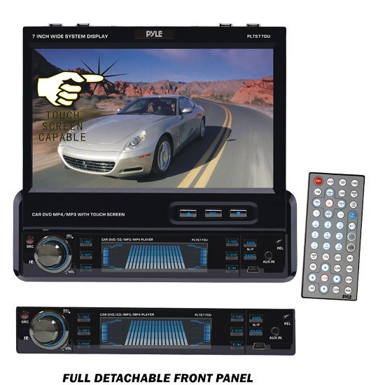Pyle 7'' Single DIN In-Dash Motorized Touch Screen TFT/LCD Monitor w/ DVD/CD/MP3/MP4/USB/SD/AM-FM