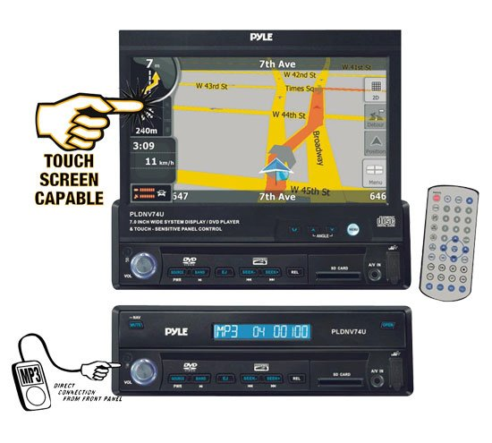 Pyle 7'' Motorized TFT Touch Screen DVD/CD/MP3 AM/FM/SD USB/Built-In GPS/TTS w USA/Canada & Mexico
