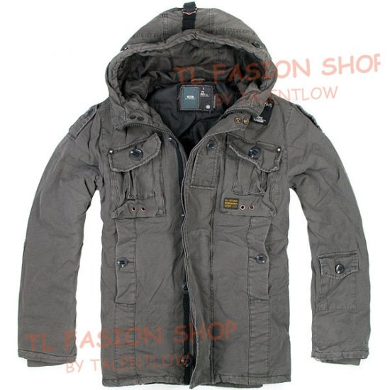 New arrival  G-Star raw mans Military hunt winter hooded jacket/coat,color gray.size M.