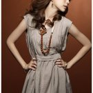 Casual Simple Silky Cotton Sleevesless Dress - Khaki