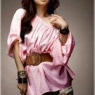 T-1906 Korea Chic Wide Shoulder Satin Loose Blouse - Pink [T-1906]