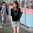 Chic Beauty Shoulder Thin Cotton Knitted Blouse - Black